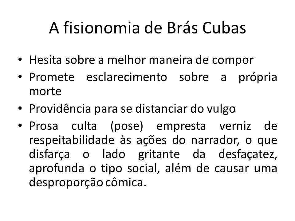 A fisionomia de Brás Cubas Hesita sobre a melhor maneira de compor Promete esclarecimento sobre a própria morte Providência para se distanciar do vulg