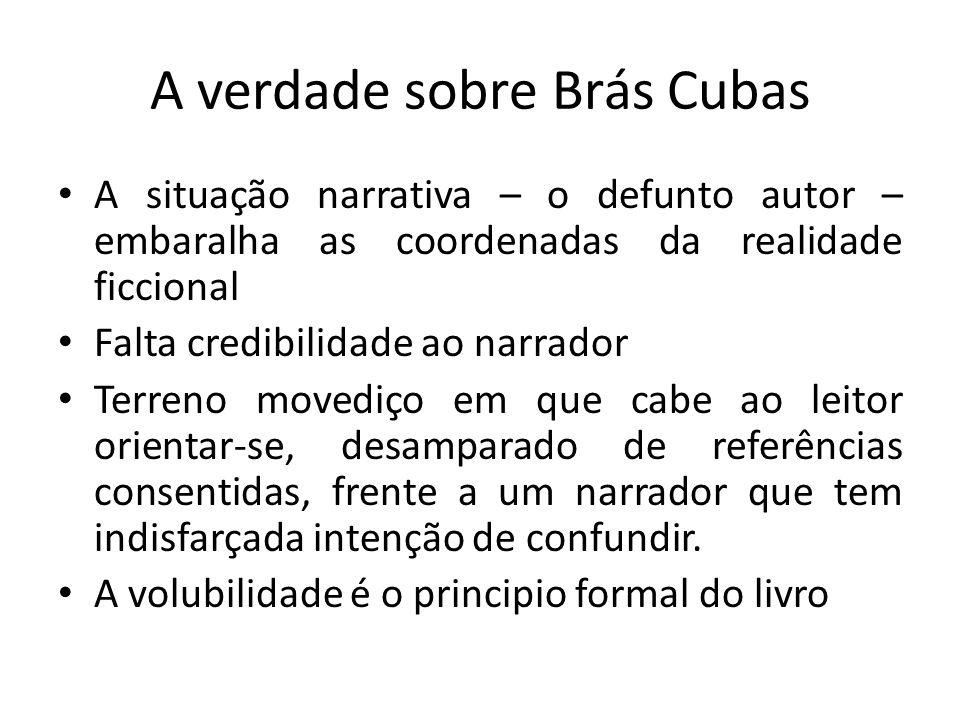 A verdade sobre Brás Cubas A situação narrativa – o defunto autor – embaralha as coordenadas da realidade ficcional Falta credibilidade ao narrador Te
