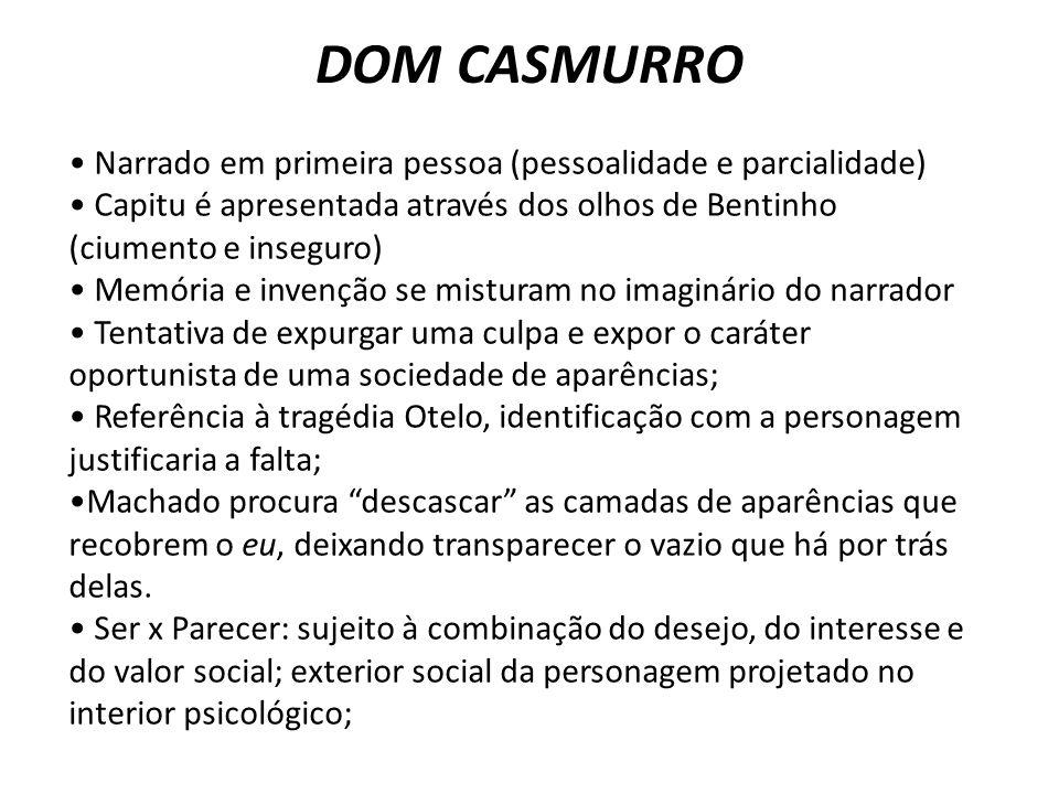 DOM CASMURRO Narrado em primeira pessoa (pessoalidade e parcialidade) Capitu é apresentada através dos olhos de Bentinho (ciumento e inseguro) Memória
