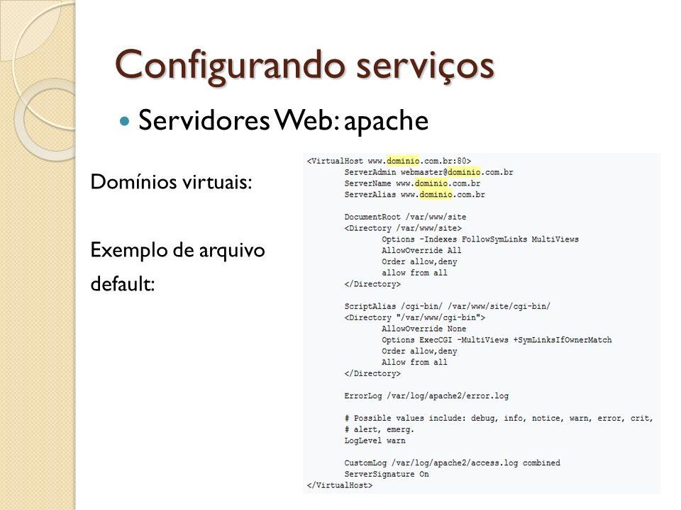 Configurando serviços Servidores Web: apache Domínios virtuais: Exemplo de arquivo default: