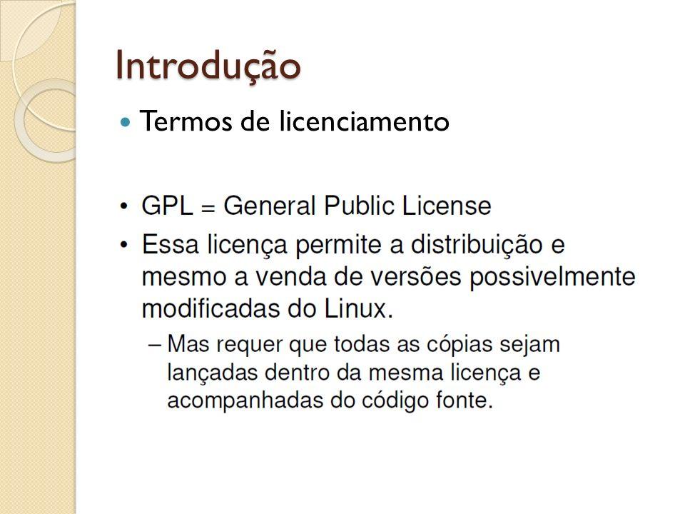 Introdução Instalação Versão a ser instalada: Debian 6.0 squeeze Mídia de instalação Imagem ISO Ambiente de máquina virtual Vmware player (gratuito) Ambiente de trabalho Linha de comando