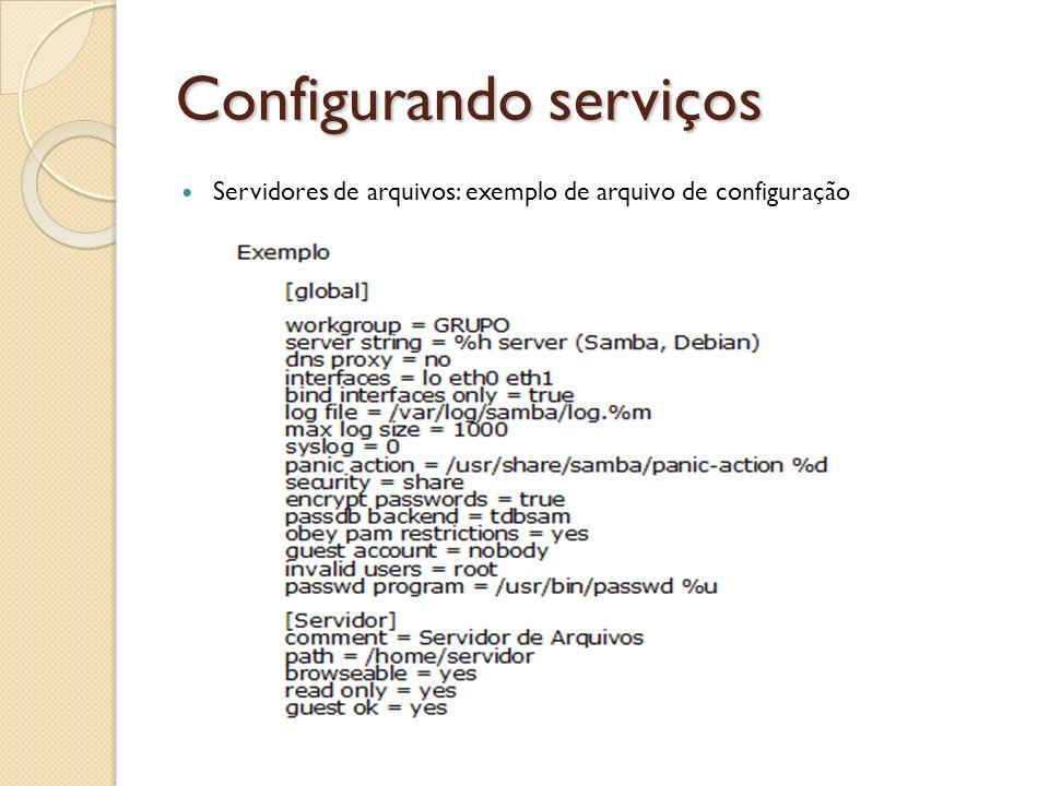 Configurando serviços Servidores de arquivos: exemplo de arquivo de configuração