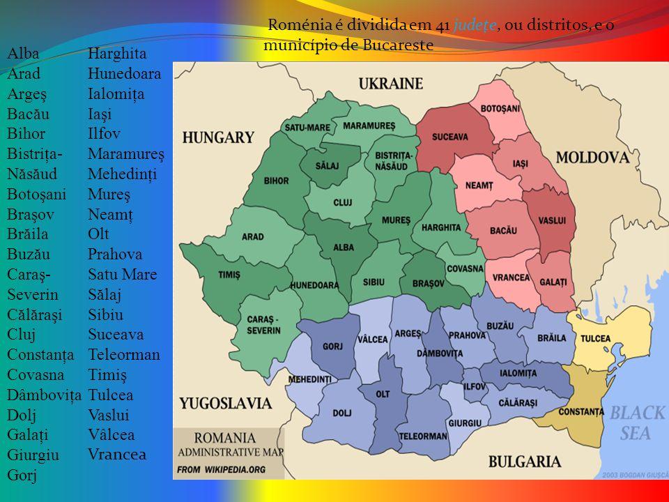 Roménia é dividida em 41 judeţe, ou distritos, e o município de Bucareste Alba Arad Argeş Bac ă u Bihor Bistriţa- N ă s ă ud Botoşani Braşov Br ă ila