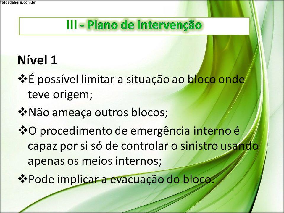 Nível 1 É possível limitar a situação ao bloco onde teve origem; Não ameaça outros blocos; O procedimento de emergência interno é capaz por si só de c