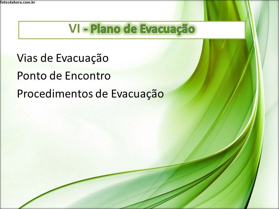 Vias de Evacuação Ponto de Encontro Procedimentos de Evacuação