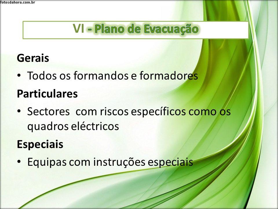 Gerais Todos os formandos e formadores Particulares Sectores com riscos específicos como os quadros eléctricos Especiais Equipas com instruções especi