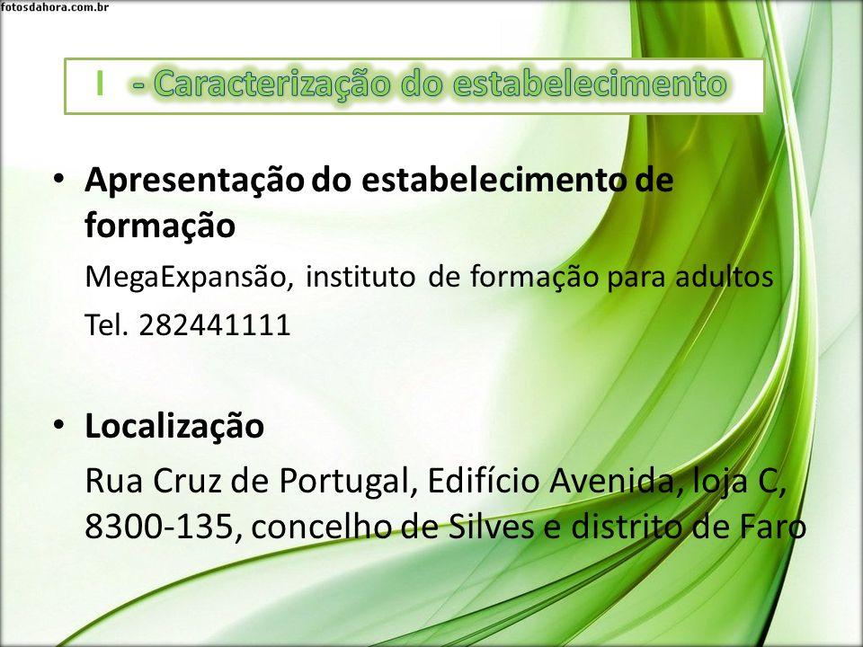 Apresentação do estabelecimento de formação MegaExpansão, instituto de formação para adultos Tel. 282441111 Localização Rua Cruz de Portugal, Edifício