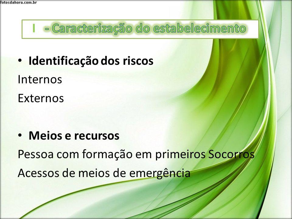 Identificação dos riscos Internos Externos Meios e recursos Pessoa com formação em primeiros Socorros Acessos de meios de emergência