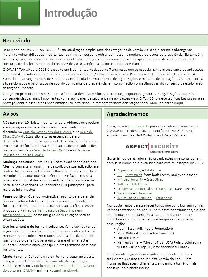 Bem-vindo Bem-vindo ao OWASP Top 10 2013! Esta atualização amplia uma das categorias da versão 2010 para ser mais abrangente, incluindo vulnerabilidad