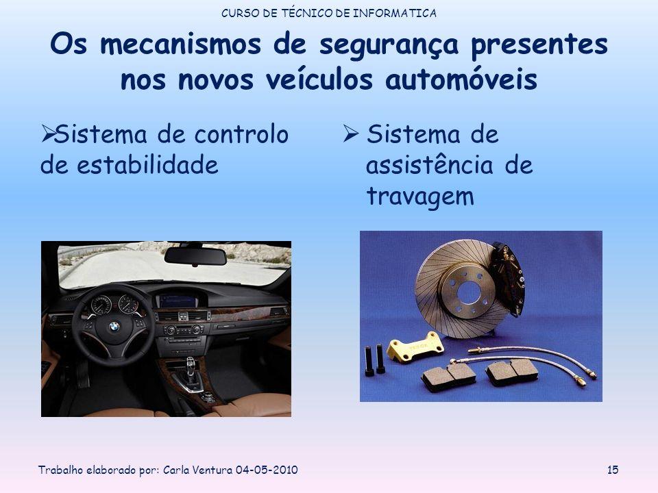 Os mecanismos de segurança presentes nos novos veículos automóveis Sistema de controlo de estabilidade Sistema de assistência de travagem CURSO DE TÉCNICO DE INFORMATICA Trabalho elaborado por: Carla Ventura 04-05-201015