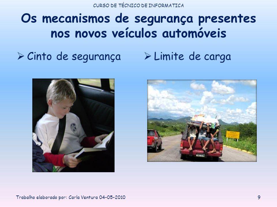 Os mecanismos de segurança presentes nos novos veículos automóveis Cinto de segurança Limite de carga CURSO DE TÉCNICO DE INFORMATICA Trabalho elaborado por: Carla Ventura 04-05-20109