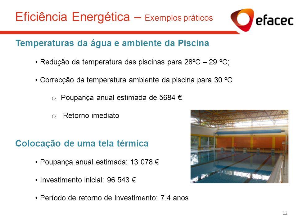 Temperaturas da água e ambiente da Piscina Redução da temperatura das piscinas para 28ºC – 29 ºC; Correcção da temperatura ambiente da piscina para 30