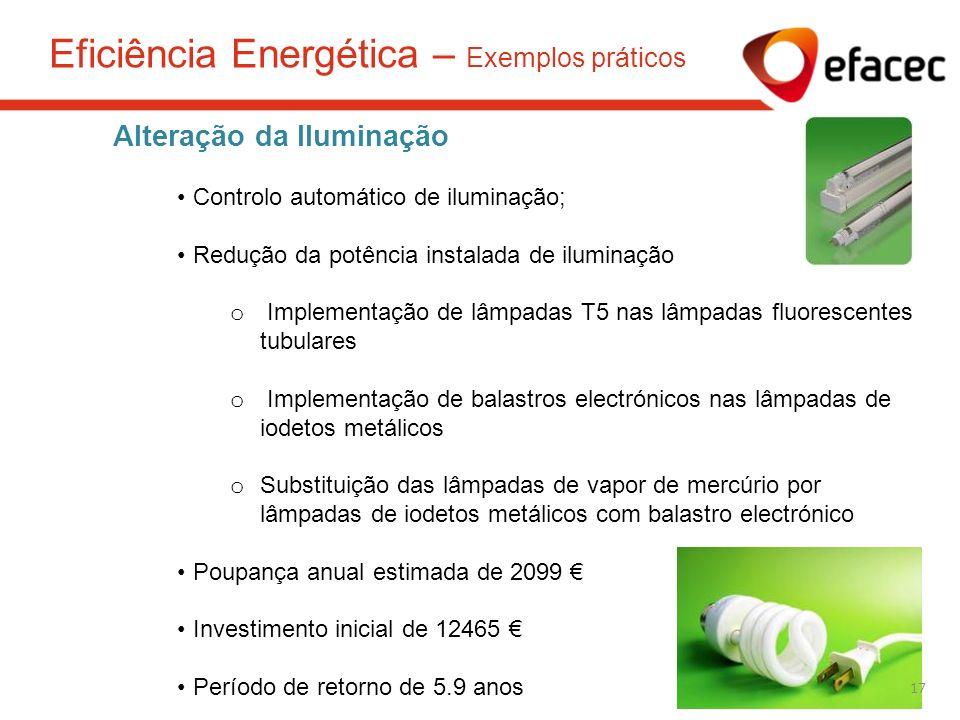 Alteração da Iluminação Controlo automático de iluminação; Redução da potência instalada de iluminação o Implementação de lâmpadas T5 nas lâmpadas flu