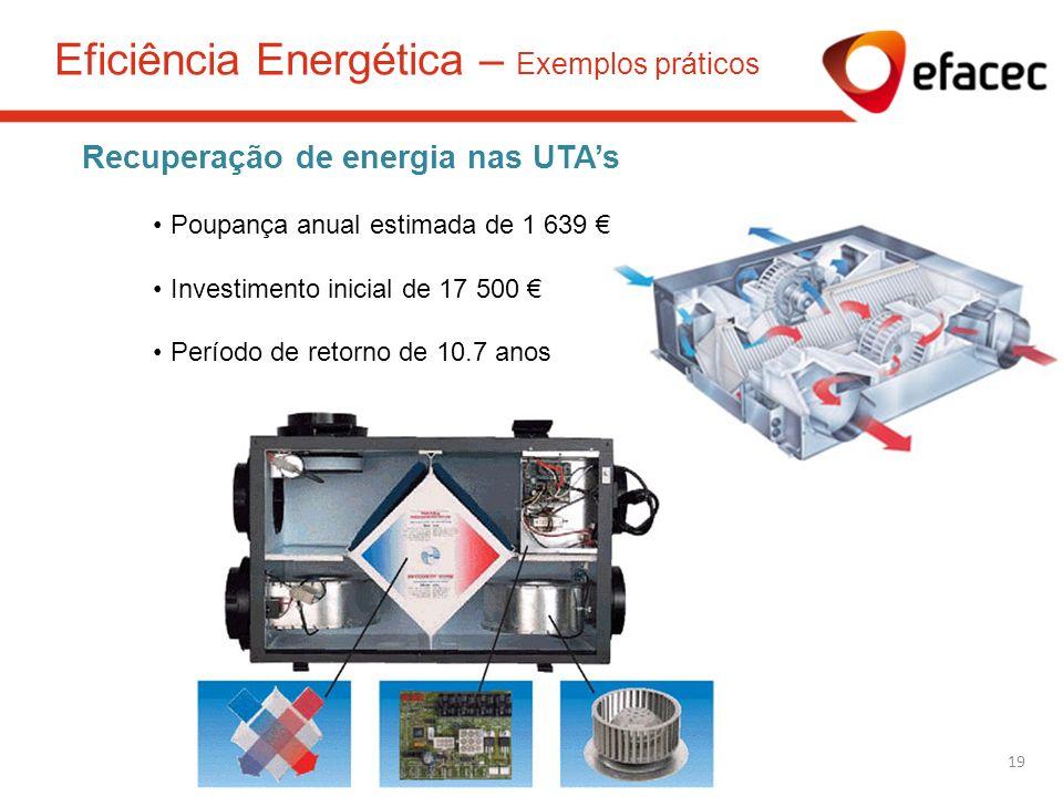 Recuperação de energia nas UTAs Poupança anual estimada de 1 639 Investimento inicial de 17 500 Período de retorno de 10.7 anos 19 Eficiência Energéti