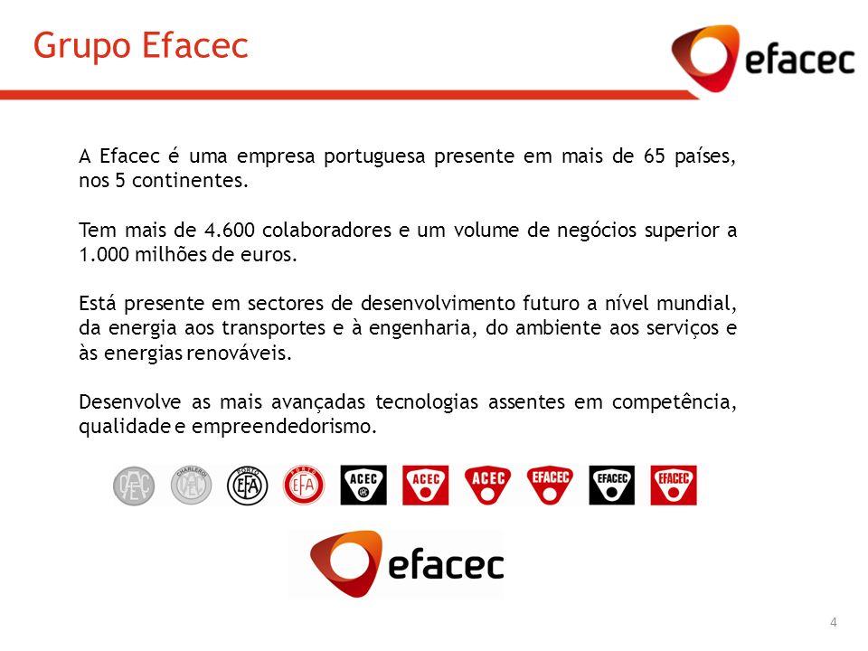 Grupo Efacec A Efacec é uma empresa portuguesa presente em mais de 65 países, nos 5 continentes. Tem mais de 4.600 colaboradores e um volume de negóci