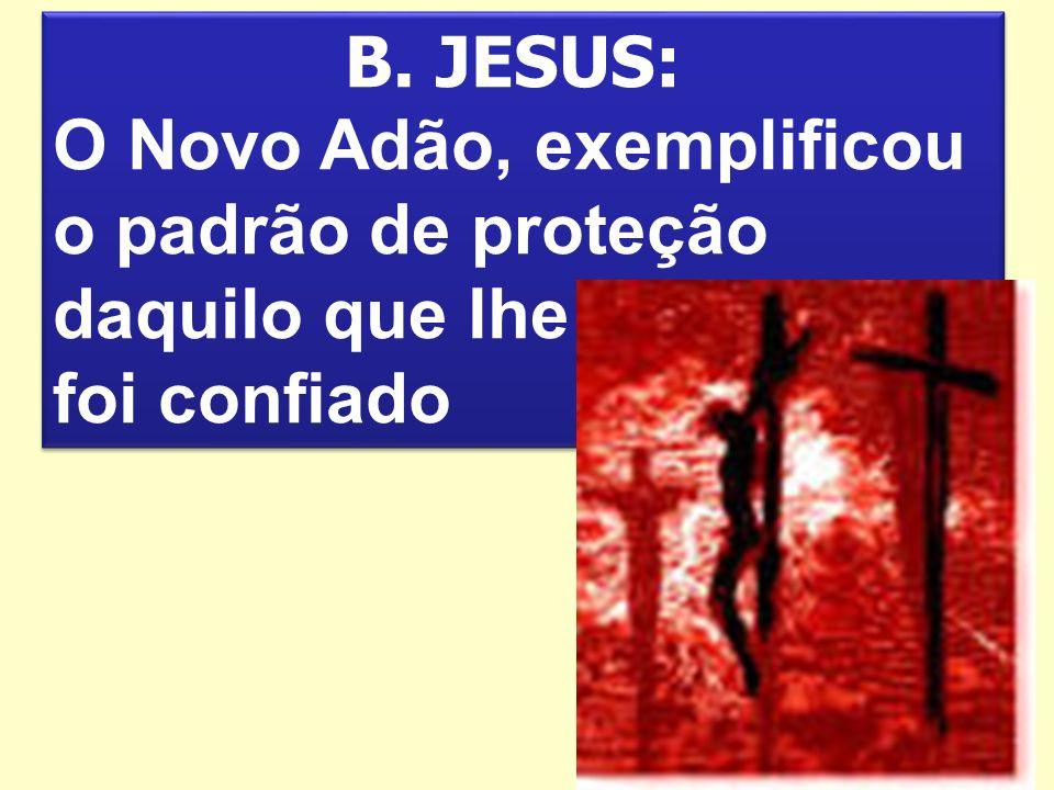 B. JESUS: O Novo Adão, exemplificou o padrão de proteção daquilo que lhe foi confiado B. JESUS: O Novo Adão, exemplificou o padrão de proteção daquilo