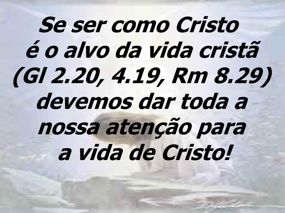 Se ser como Cristo é o alvo da vida cristã (Gl 2.20, 4.19, Rm 8.29) devemos dar toda a nossa atenção para a vida de Cristo!