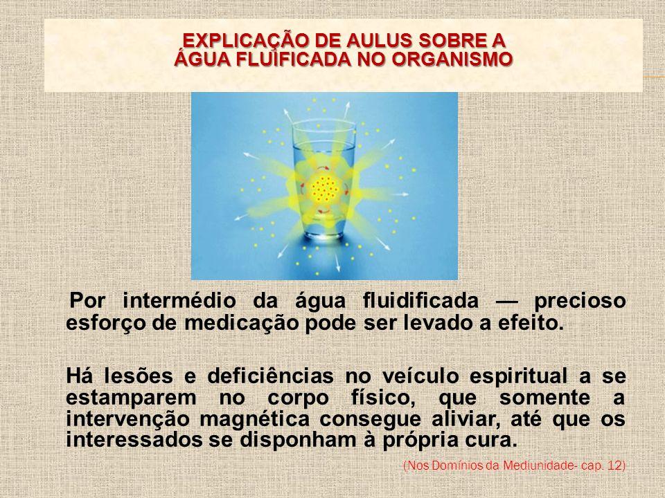 Por intermédio da água fluidificada precioso esforço de medicação pode ser levado a efeito. Há lesões e deficiências no veículo espiritual a se estamp