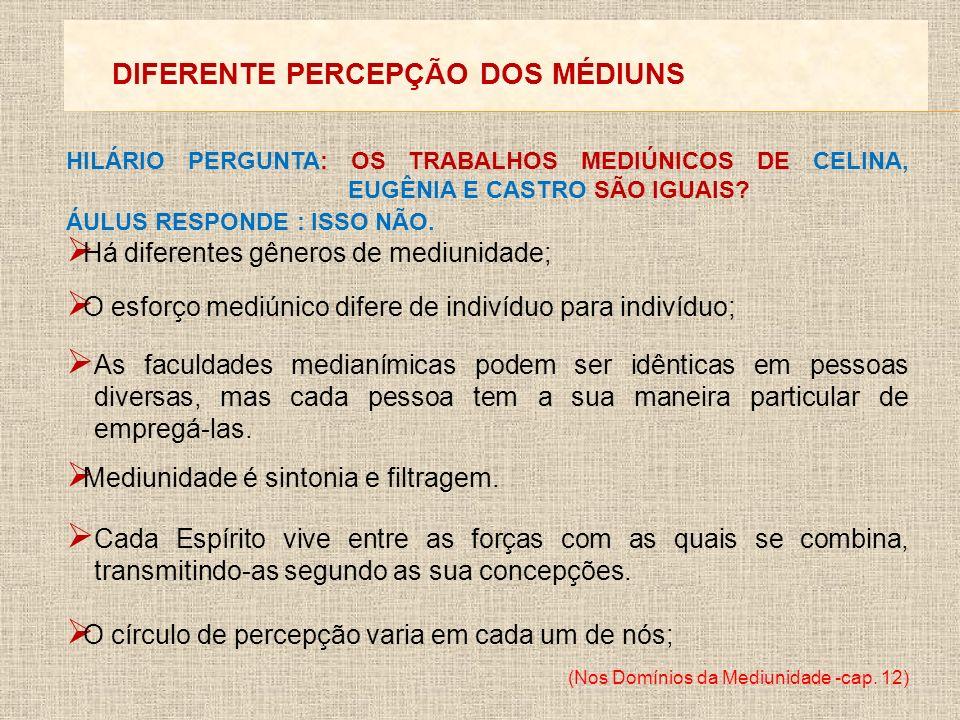 DIFERENTE PERCEPÇÃO DOS MÉDIUNS HILÁRIO PERGUNTA: OS TRABALHOS MEDIÚNICOS DE CELINA, EUGÊNIA E CASTRO SÃO IGUAIS? ÁULUS RESPONDE : ISSO NÃO. Há difere