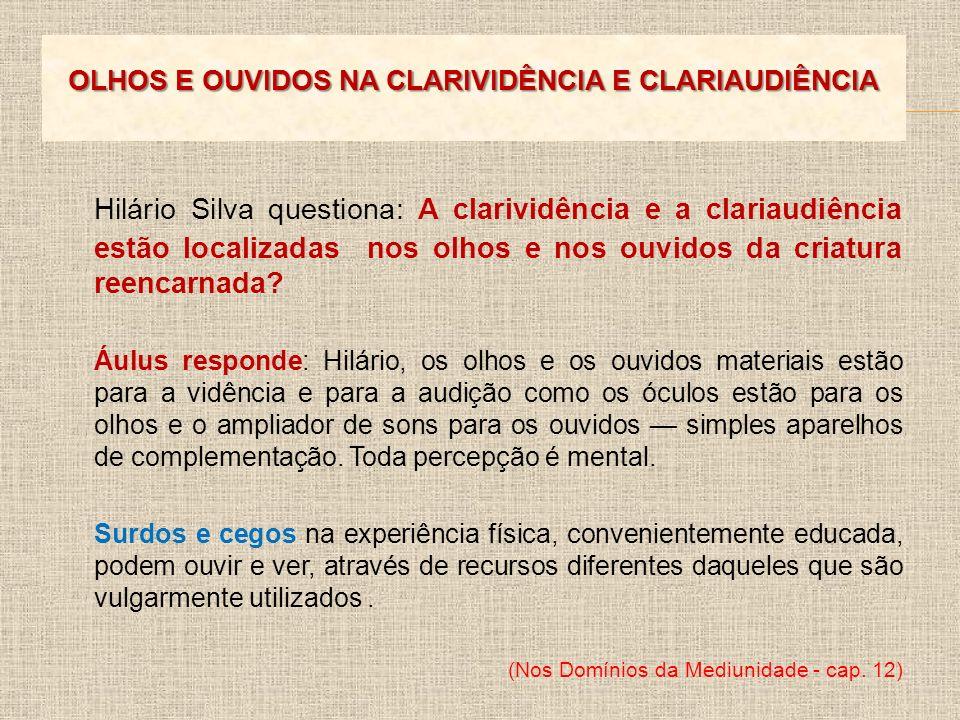 Hilário Silva questiona: A clarividência e a clariaudiência estão localizadas nos olhos e nos ouvidos da criatura reencarnada? Áulus responde: Hilário