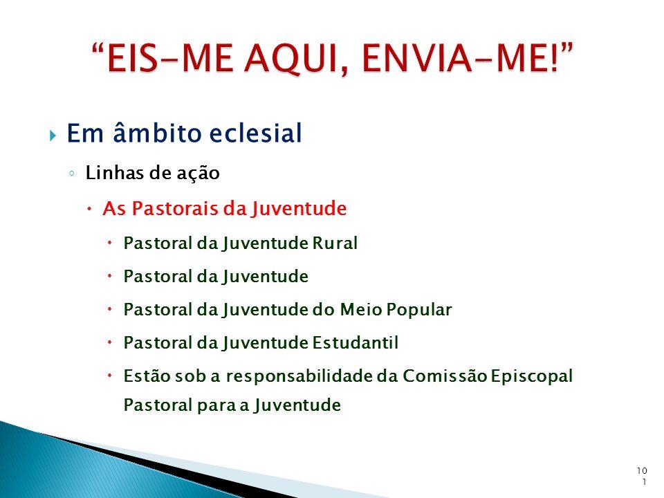 Em âmbito eclesial Linhas de ação As Pastorais da Juventude Pastoral da Juventude Rural Pastoral da Juventude Pastoral da Juventude do Meio Popular Pa