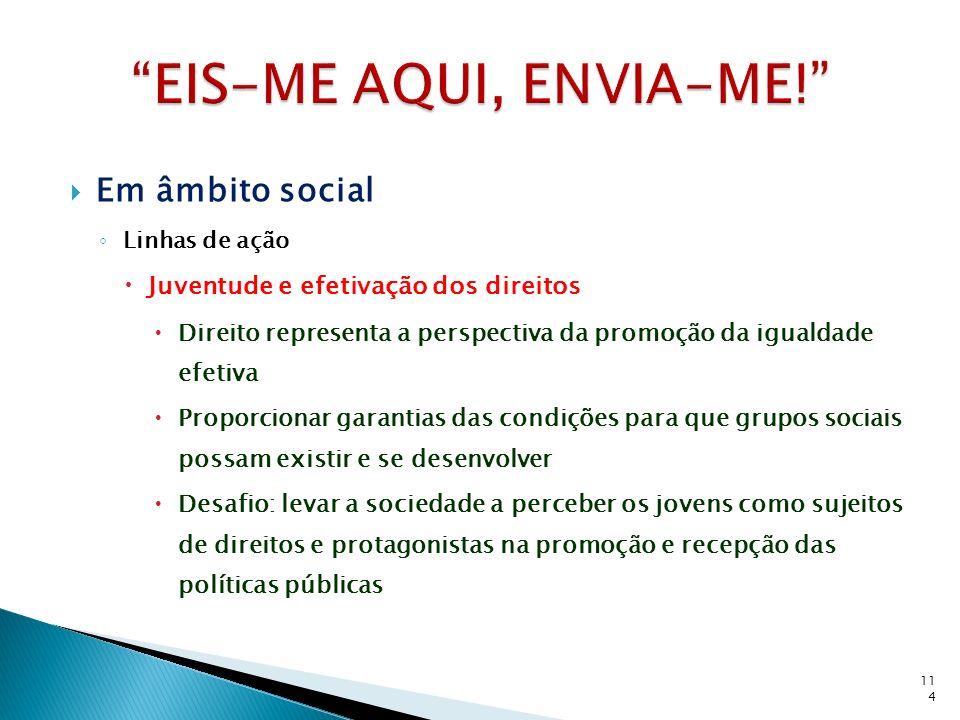 Em âmbito social Linhas de ação Juventude e efetivação dos direitos Direito representa a perspectiva da promoção da igualdade efetiva Proporcionar gar