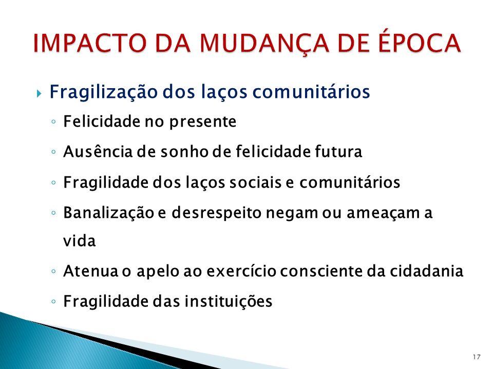 Fragilização dos laços comunitários Felicidade no presente Ausência de sonho de felicidade futura Fragilidade dos laços sociais e comunitários Banaliz