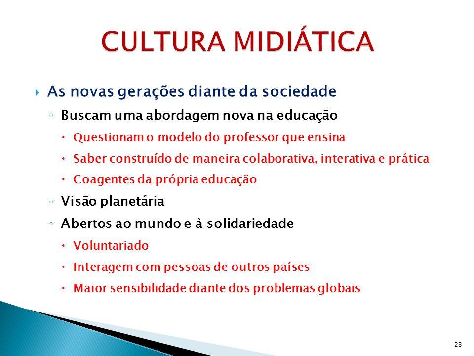 As novas gerações diante da sociedade Buscam uma abordagem nova na educação Questionam o modelo do professor que ensina Saber construído de maneira co