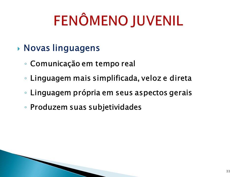 Novas linguagens Comunicação em tempo real Linguagem mais simplificada, veloz e direta Linguagem própria em seus aspectos gerais Produzem suas subjetividades 33
