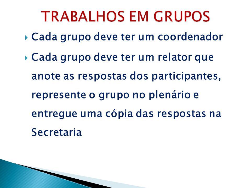 Cada grupo deve ter um coordenador Cada grupo deve ter um relator que anote as respostas dos participantes, represente o grupo no plenário e entregue uma cópia das respostas na Secretaria