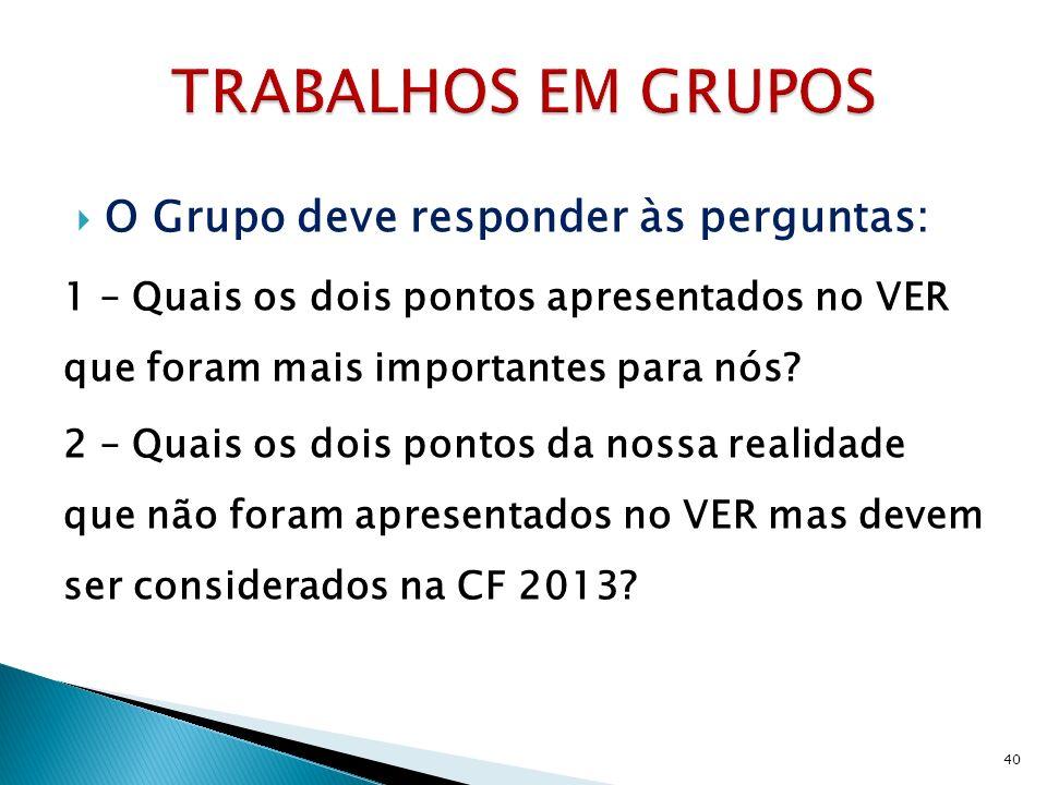 O Grupo deve responder às perguntas: 1 – Quais os dois pontos apresentados no VER que foram mais importantes para nós.
