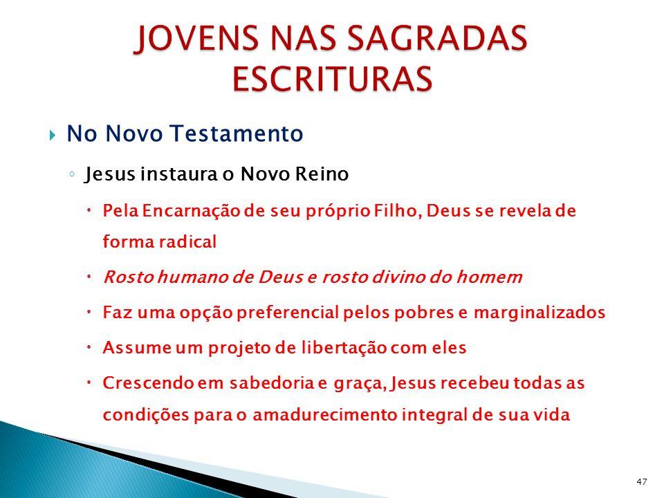 No Novo Testamento Jesus instaura o Novo Reino Pela Encarnação de seu próprio Filho, Deus se revela de forma radical Rosto humano de Deus e rosto divi