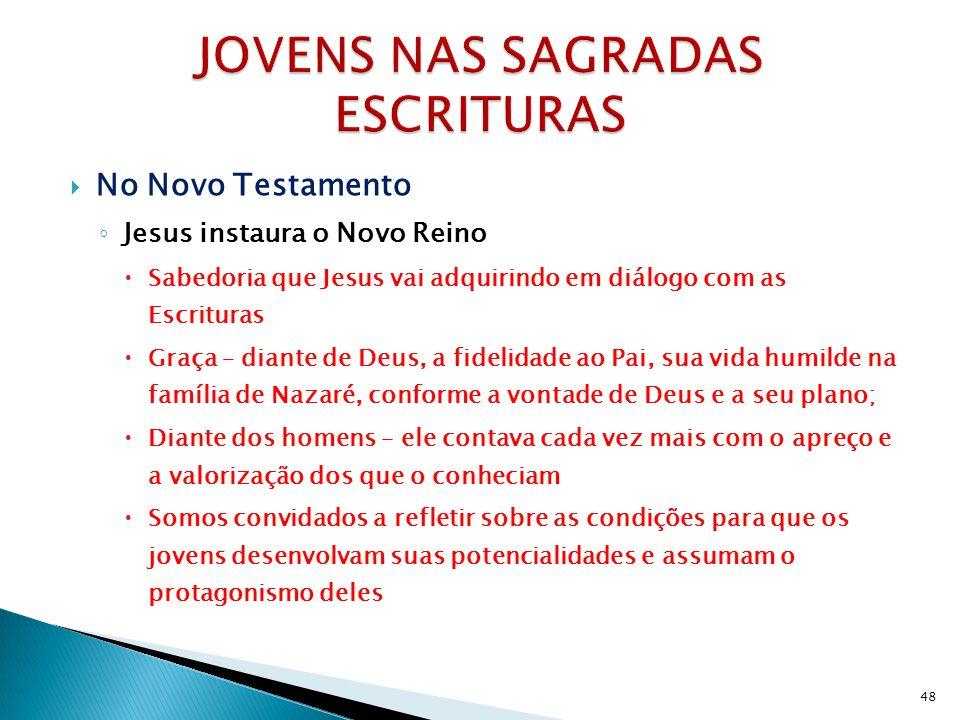 No Novo Testamento Jesus instaura o Novo Reino Sabedoria que Jesus vai adquirindo em diálogo com as Escrituras Graça – diante de Deus, a fidelidade ao