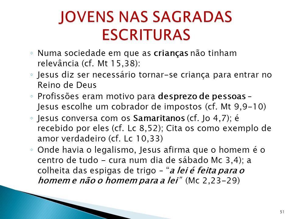 Numa sociedade em que as crianças não tinham relevância (cf. Mt 15,38): Jesus diz ser necessário tornar-se criança para entrar no Reino de Deus Profis