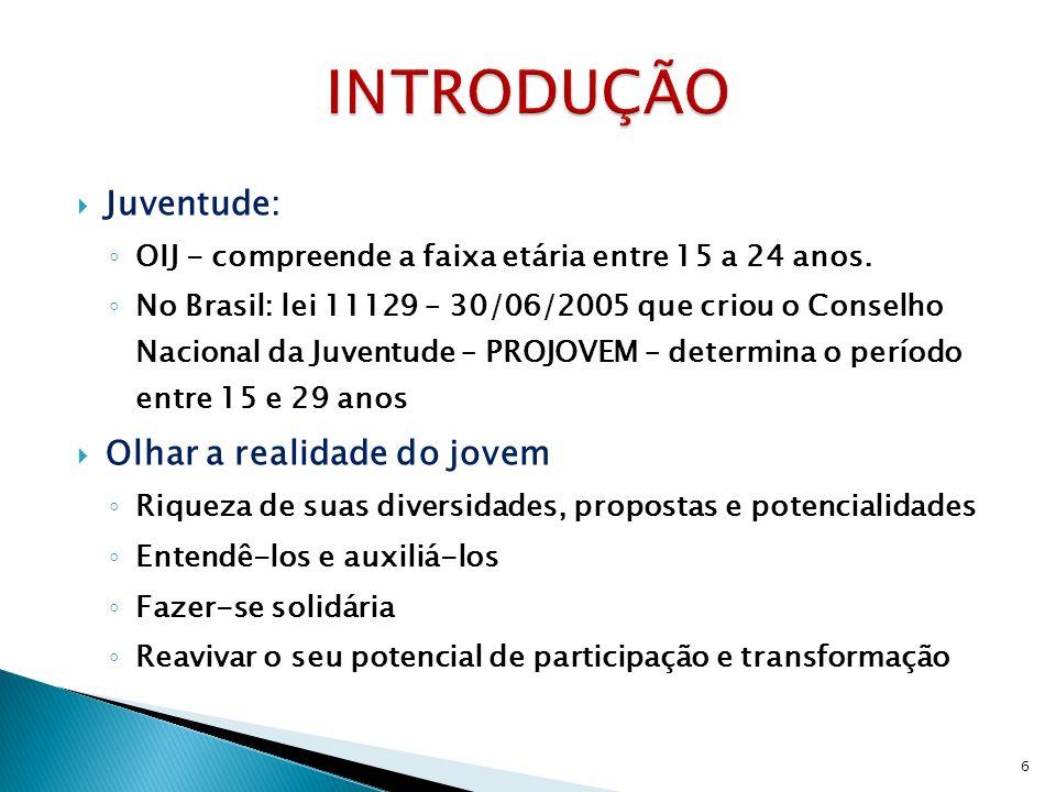 Juventude: OIJ - compreende a faixa etária entre 15 a 24 anos. No Brasil: lei 11129 – 30/06/2005 que criou o Conselho Nacional da Juventude – PROJOVEM