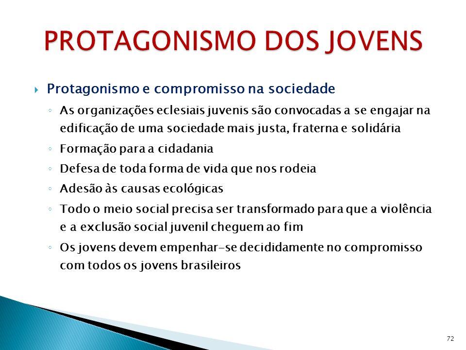 Protagonismo e compromisso na sociedade As organizações eclesiais juvenis são convocadas a se engajar na edificação de uma sociedade mais justa, fraterna e solidária Formação para a cidadania Defesa de toda forma de vida que nos rodeia Adesão às causas ecológicas Todo o meio social precisa ser transformado para que a violência e a exclusão social juvenil cheguem ao fim Os jovens devem empenhar-se decididamente no compromisso com todos os jovens brasileiros 72