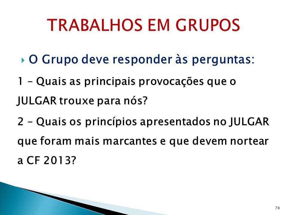 O Grupo deve responder às perguntas: 1 – Quais as principais provocações que o JULGAR trouxe para nós? 2 – Quais os princípios apresentados no JULGAR