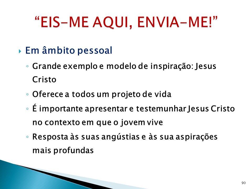 Em âmbito pessoal Grande exemplo e modelo de inspiração: Jesus Cristo Oferece a todos um projeto de vida É importante apresentar e testemunhar Jesus C