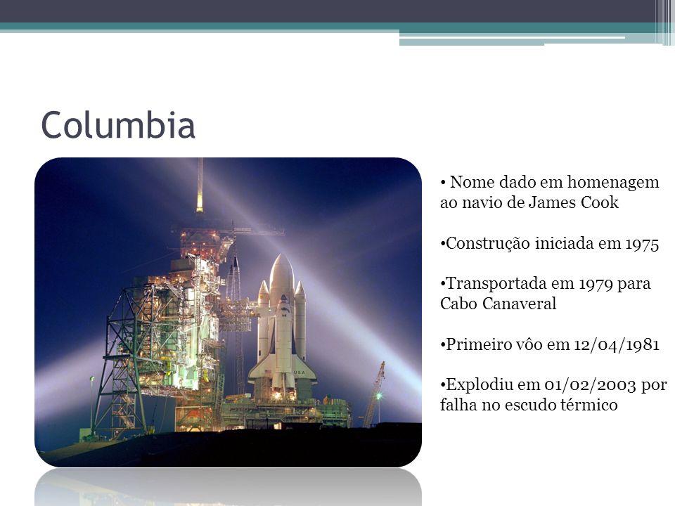 Columbia Nome dado em homenagem ao navio de James Cook Construção iniciada em 1975 Transportada em 1979 para Cabo Canaveral Primeiro vôo em 12/04/1981 Explodiu em 01/02/2003 por falha no escudo térmico