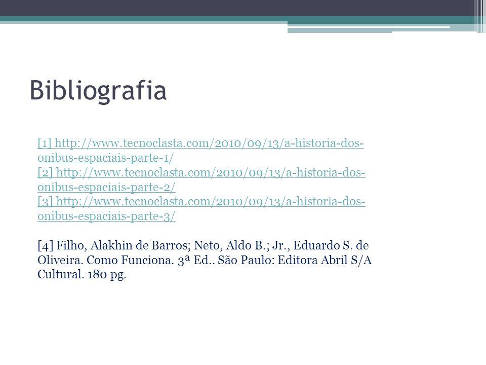 Bibliografia [1] http://www.tecnoclasta.com/2010/09/13/a-historia-dos- onibus-espaciais-parte-1/ [2] http://www.tecnoclasta.com/2010/09/13/a-historia-dos- onibus-espaciais-parte-2/ [3] http://www.tecnoclasta.com/2010/09/13/a-historia-dos- onibus-espaciais-parte-3/ [4] Filho, Alakhin de Barros; Neto, Aldo B.; Jr., Eduardo S.