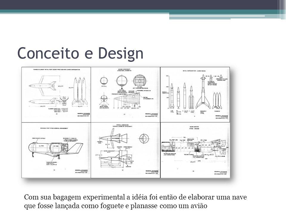 Conceito e Design Com sua bagagem experimental a idéia foi então de elaborar uma nave que fosse lançada como foguete e planasse como um avião