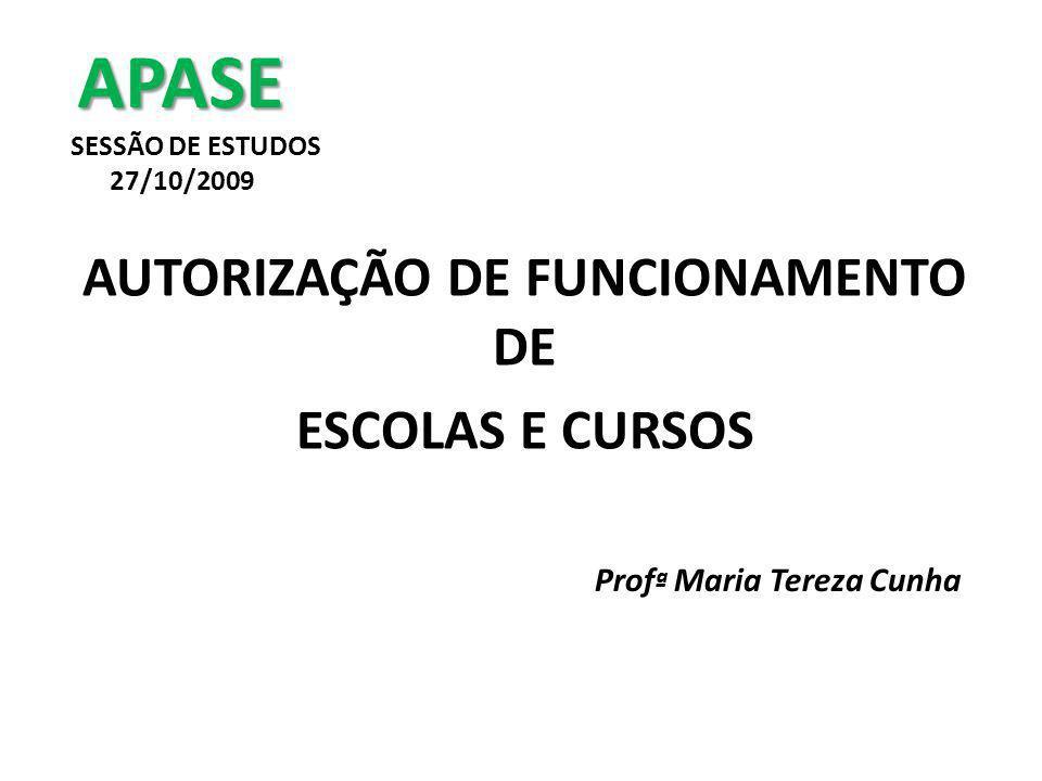 APASE APASE SESSÃO DE ESTUDOS 27/10/2009 AUTORIZAÇÃO DE FUNCIONAMENTO DE ESCOLAS E CURSOS Prof ª Maria Tereza Cunha