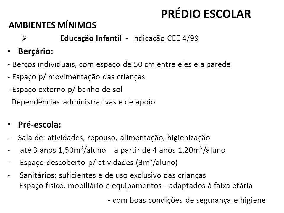PRÉDIO ESCOLAR AMBIENTES MÍNIMOS Educação Infantil - Indicação CEE 4/99 Berçário: - Berços individuais, com espaço de 50 cm entre eles e a parede - Es