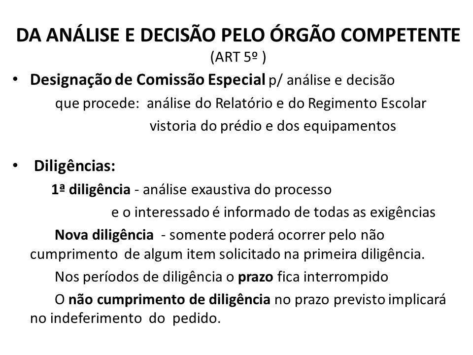 DA ANÁLISE E DECISÃO PELO ÓRGÃO COMPETENTE (ART 5º ) Designação de Comissão Especial p/ análise e decisão que procede: análise do Relatório e do Regim