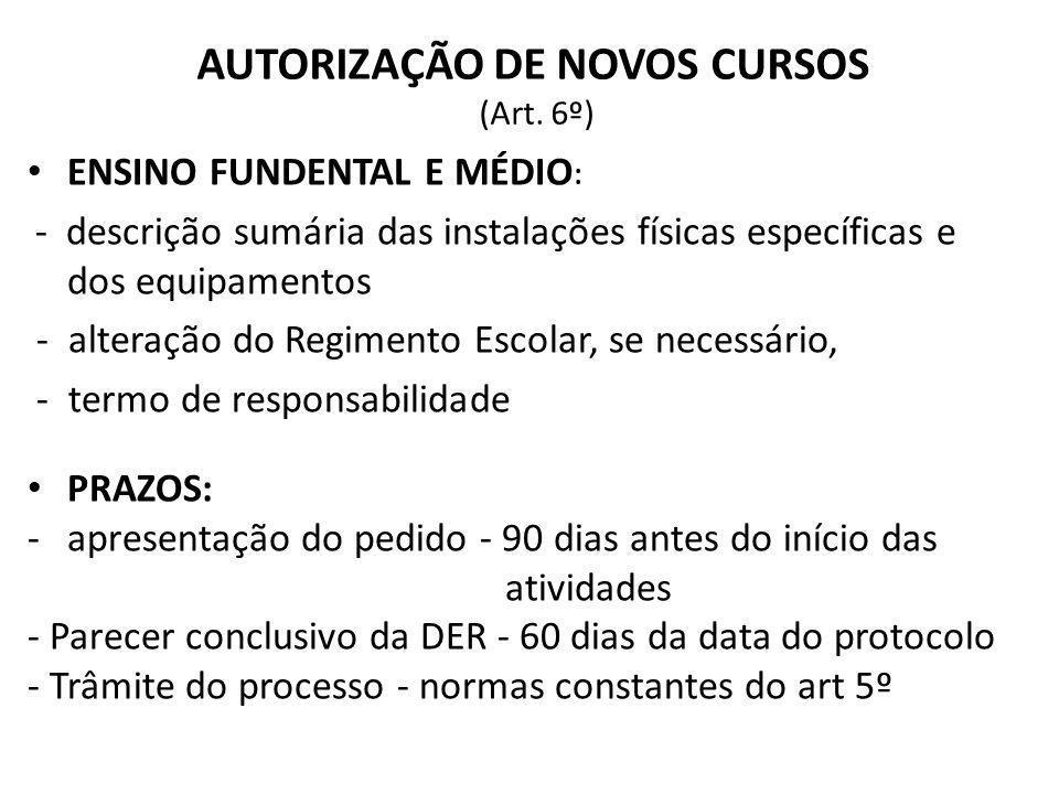 AUTORIZAÇÃO DE NOVOS CURSOS (Art. 6º) ENSINO FUNDENTAL E MÉDIO : - descrição sumária das instalações físicas específicas e dos equipamentos - alteraçã