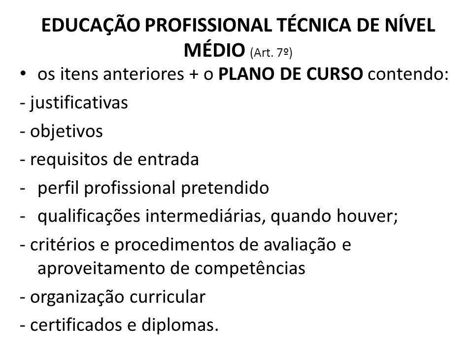 EDUCAÇÃO PROFISSIONAL TÉCNICA DE NÍVEL MÉDIO (Art. 7º) os itens anteriores + o PLANO DE CURSO contendo: - justificativas - objetivos - requisitos de e