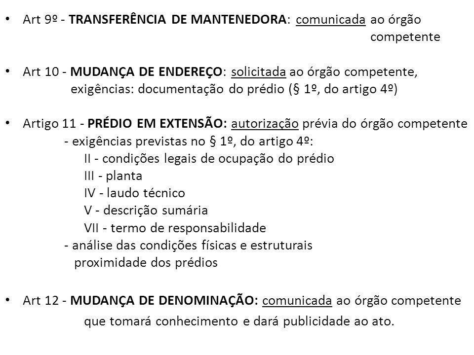 Art 9º - TRANSFERÊNCIA DE MANTENEDORA: comunicada ao órgão competente Art 10 - MUDANÇA DE ENDEREÇO: solicitada ao órgão competente, exigências: documentação do prédio (§ 1º, do artigo 4º) Artigo 11 - PRÉDIO EM EXTENSÃO: autorização prévia do órgão competente - exigências previstas no § 1º, do artigo 4º: II - condições legais de ocupação do prédio III - planta IV - laudo técnico V - descrição sumária VII - termo de responsabilidade - análise das condições físicas e estruturais proximidade dos prédios Art 12 - MUDANÇA DE DENOMINAÇÃO: comunicada ao órgão competente que tomará conhecimento e dará publicidade ao ato.