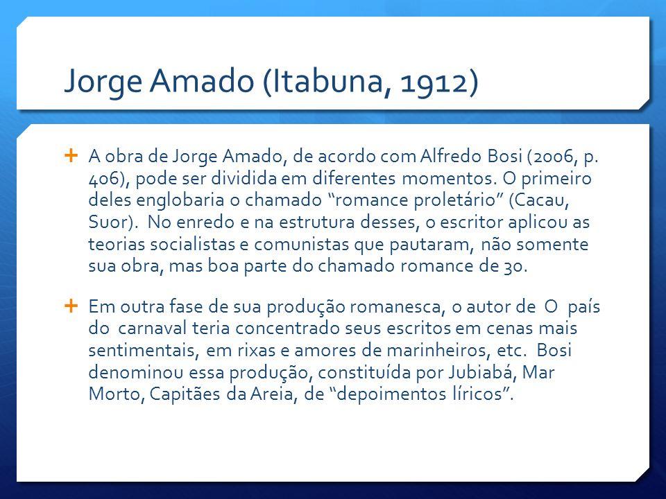 Jorge Amado (Itabuna, 1912) A obra de Jorge Amado, de acordo com Alfredo Bosi (2006, p. 406), pode ser dividida em diferentes momentos. O primeiro del