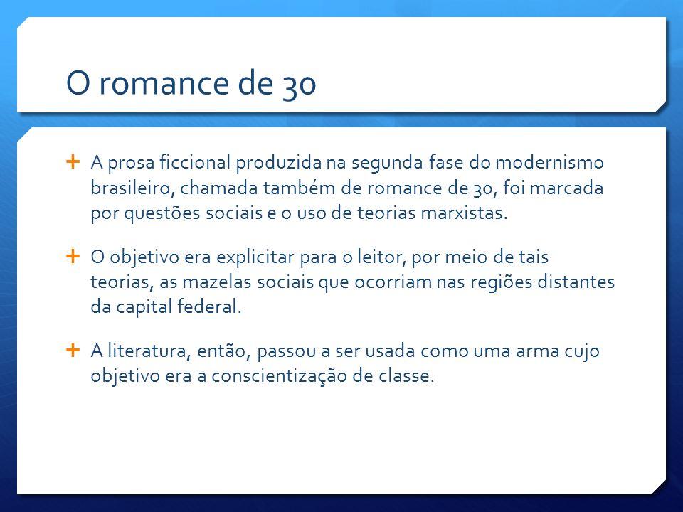 O romance de 30 A prosa ficcional produzida na segunda fase do modernismo brasileiro, chamada também de romance de 30, foi marcada por questões sociai