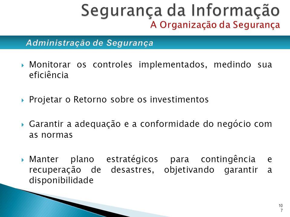 Monitorar os controles implementados, medindo sua eficiência Projetar o Retorno sobre os investimentos Garantir a adequação e a conformidade do negóci